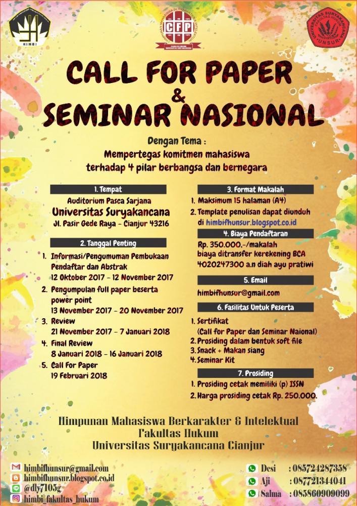"""Call for Paper dan Seminar Nasional bertemakan """"Mempertegas Komitmen Mahasiswa Terhadap Empat Pilar Berbangsa dan Bernagara""""."""