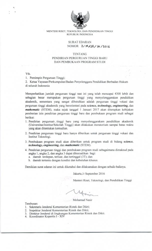 Surat Edaran Menristekdikti tentang Pendirian Perguruan Tinggi Baru dan Pembukaan Program Studi