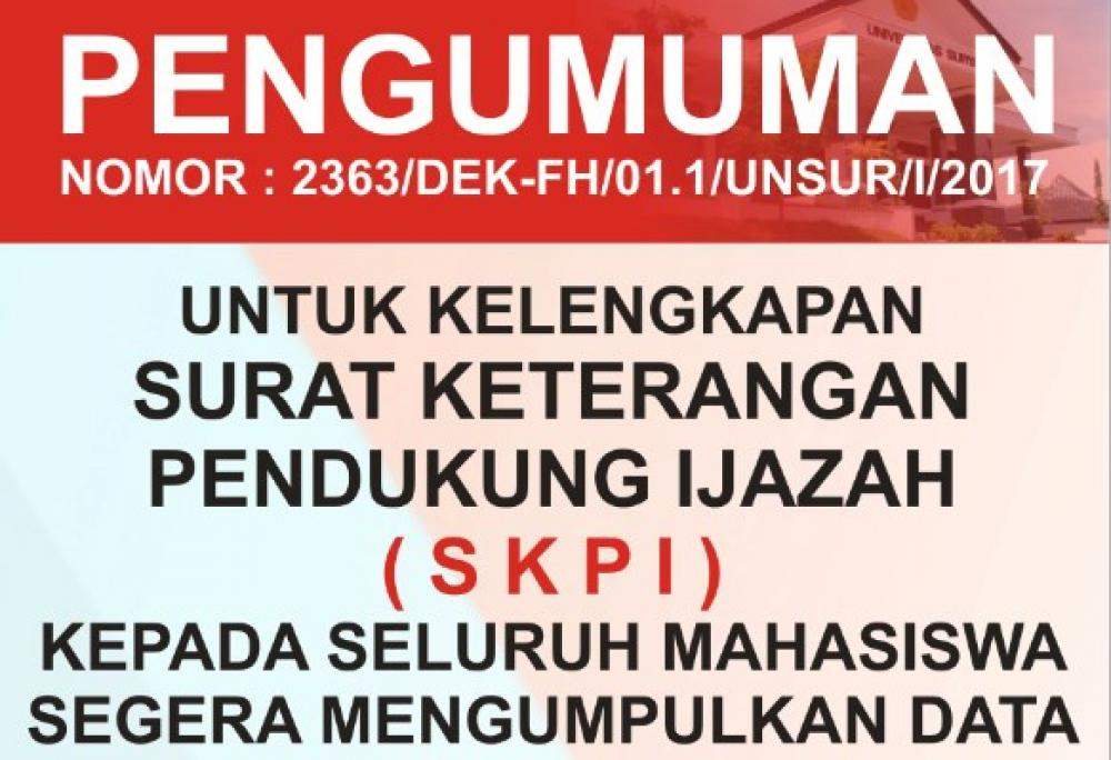 Diploma Supplement  SKPI di Fakultas Hukum