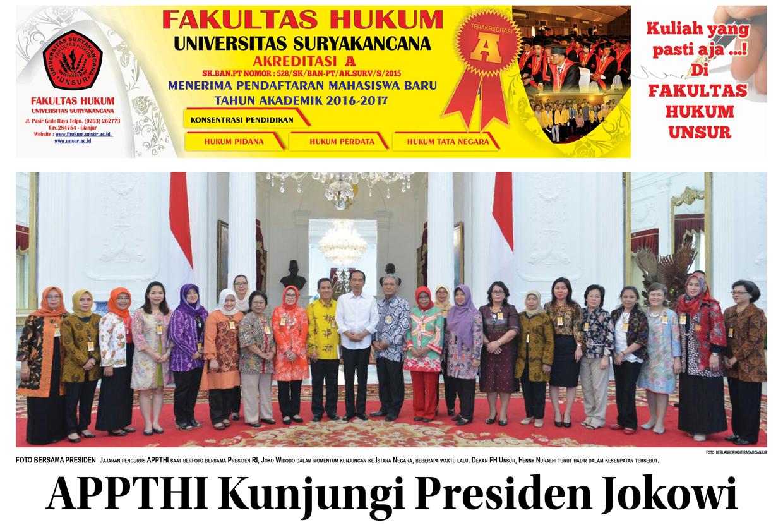 Dekan FH Unsur beserta APPTHI Kunjungi Presiden Jokowi